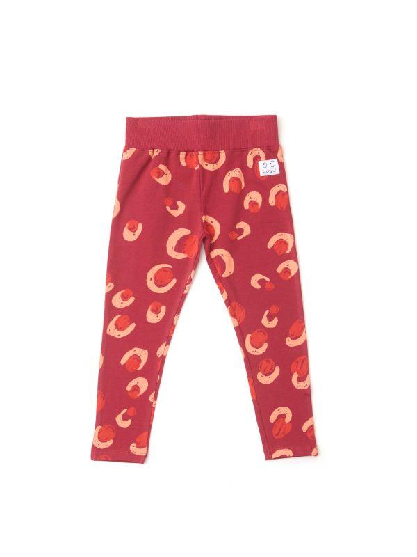 červené detské legíny so vzorom funky gepard