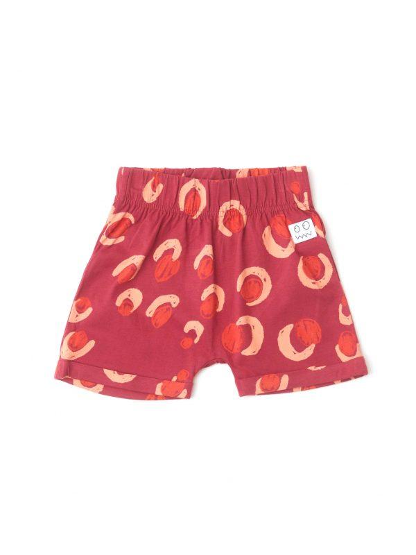 detské šortky červenej farby s potlačou gepard