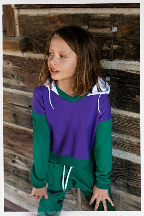 detská fialová mikina s kapucňou